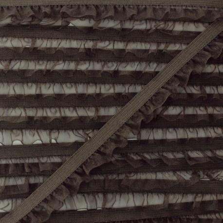Flounce Muslin Elastic Ribbon - Brown x 1m