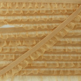 Flounce Muslin Elastic Ribbon - Ochre x 1m