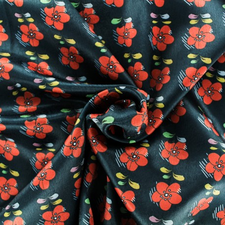 Satin fabric - Black Renversante x 50cm