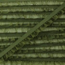 Flounce Muslin Elastic Ribbon - Khaki x 1m