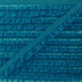 Flounce Muslin Elastic Ribbon - Peacock Blue x 1m