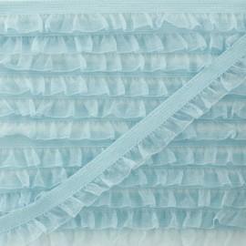 Flounce Muslin Elastic Ribbon - Sky Blue x 1m