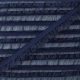 Flounce Muslin Elastic Ribbon - Navy Blue x 1m