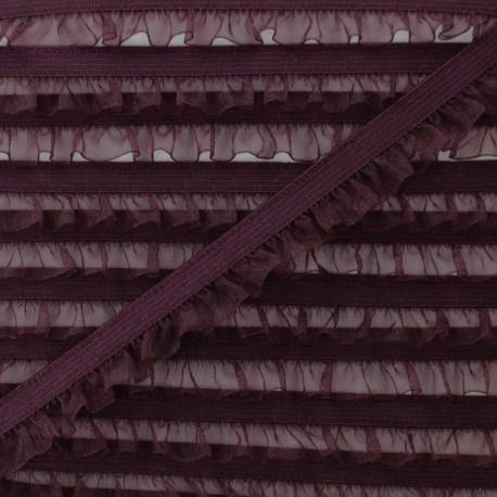 Flounce Muslin Elastic Ribbon - Plum x 1m