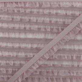 Flounce Muslin Elastic Ribbon - Ancient Pink x 1m