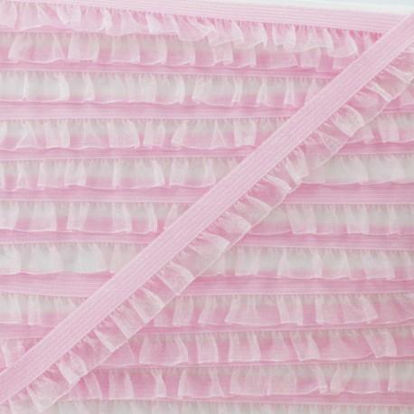 Flounce Muslin Elastic Ribbon - Pink x 1m