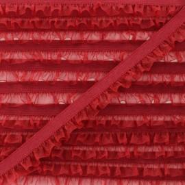 Flounce Muslin Elastic Ribbon - Red x 1m