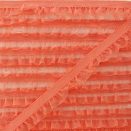 Flounce Muslin Elastic Ribbon - Coral x 1m