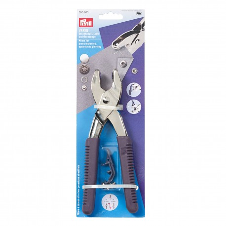 Vario plier for press fasteners, eyelets and piercing