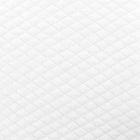 Tissu matelassé simple face losanges - Blanc x10cm