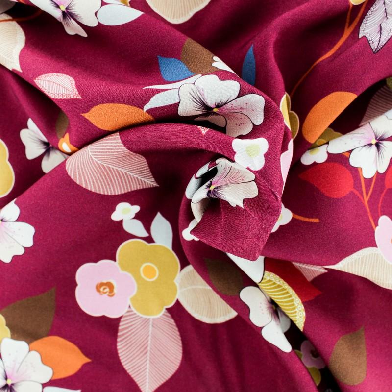 e2b18c692541 Tissu viscose fleuri Séduisante Rose Framboise - MPM