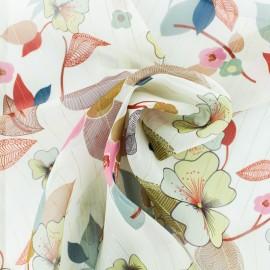 ♥ Coupon 220 cm X 140 cm ♥  Lurex Muslin fabric - White Séduisante