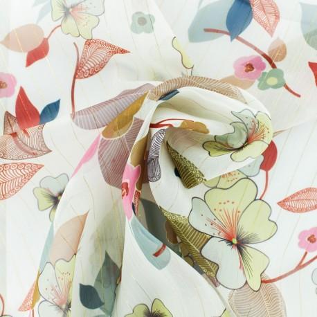 Lurex Muslin fabric - White Séduisante x 50cm