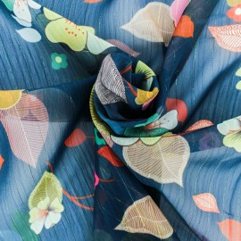 ♥ Coupon 150 cm X 140 cm ♥ Tissu Mousseline lurex Séduisante - bleu nuit