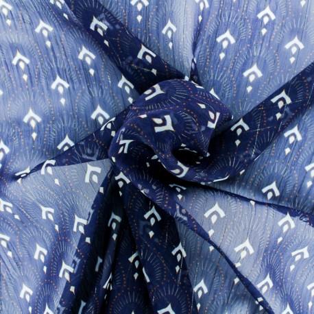 Lurex Muslin fabric - Navy blue Majestueuse x 50cm