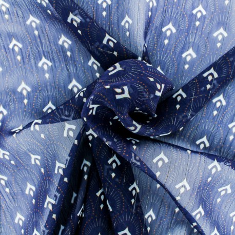 Tissu Mousseline lurex Majestueuse - bleu marine x 50cm