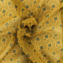 Tissu Mousseline lurex Majestueuse - moutarde x 50cm