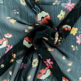 ♥ Coupon 200 cm X 140 cm ♥ Tissu Mousseline lurex Romantique - noir