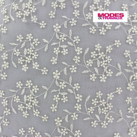 Tissu tulle dentelle brodée Petites Fleurs - crème x 10 cm