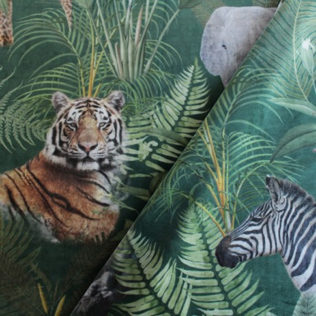 Digital print velvet fabric - green Wild jungle x 40cm