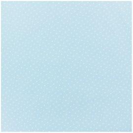 Tissu coton mini pois - blanc/bleu clair x 10cm