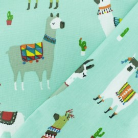 Coated cotton fabric - Mint green Llama and cie x 10cm
