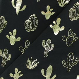 Tissu jersey Passion Cactus - noir/doré x 10cm