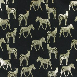 Cotton Jersey fabric - Black/gold Zebra Passion x 10cm