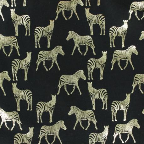 Tissu jersey Passion zèbre - noir/doré x 10cm