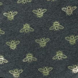 Tissu jersey Passion Abeille - gris foncé/doré x 10cm