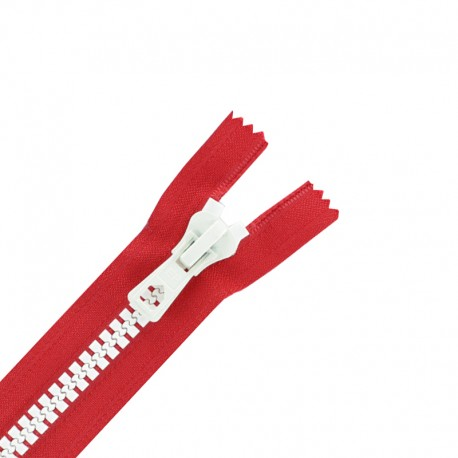 Synthetic moulded two-tone open-end zip - red / white