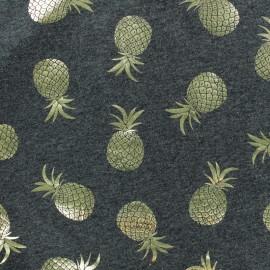 Tissu jersey Passion ananas - gris foncé/doré x 10cm