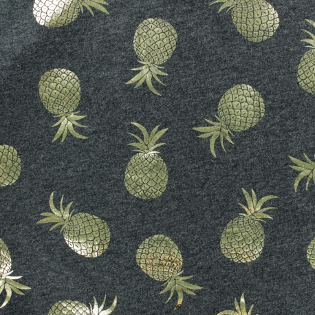 Cotton Jersey fabric - Dark Grey/Gold Pineapple Passion x 10cm