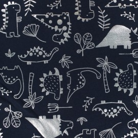 Cotton Jersey fabric - Navy blue/Silver llama Passion x 10cm
