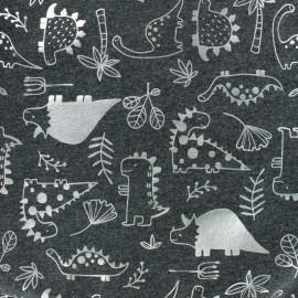 Cotton Jersey fabric - Dark Grey/Silver Dinosaurs Passion x 10cm