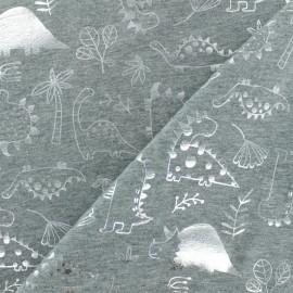 Cotton Jersey fabric - Light Grey/silver Dinosaurs Passion x 10cm