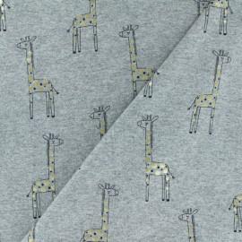 Cotton Jersey fabric - Light Grey/Gold Giraffe x 10cm