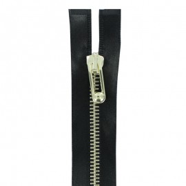 Thin golden metal Separating zipper satiny - black