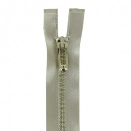 Thin golden metal Separating zipper satiny - beige