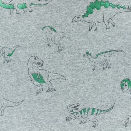 Cotton Jersey fabric - Light Grey/metallic green Dinosaur 10cm