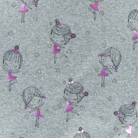 Cotton Jersey fabric - Light Grey/metallic pink Ballerina Girl x 10cm