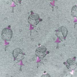 Cotton Jersey fabric - Light Grey/metallic pink Ballerina Girl x 10cm