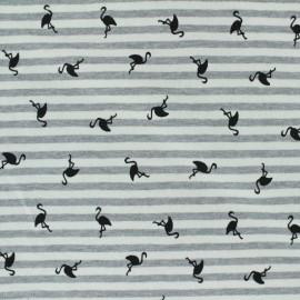 Tissu jersey rayé Flamingo - écru x 10cm