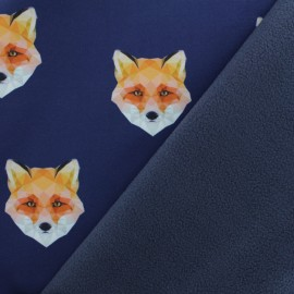 Softshell fabric – Dark blue Origami Fox x 10cm