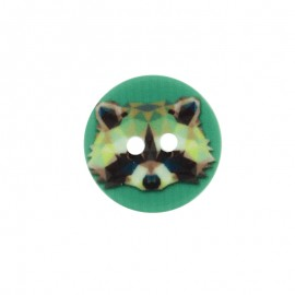 18 mm Polyester Button - Green Raccoon