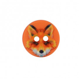 18 mm Polyester Button - Orange Fox