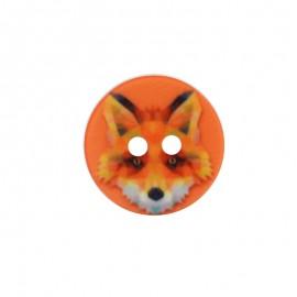 Bouton Polyester Renard 18 mm - Orange
