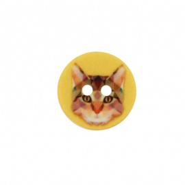 18 mm Polyester Button - Yellow Cat