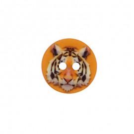 Bouton Polyester Tigre 18 mm - Orange