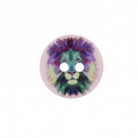 Bouton Polyester Lion 18 mm - Rose